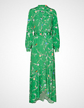 Coster Copenhagen Long Dress W. Belt In Birdprint Maxikjole Festkjole Grønn COSTER COPENHAGEN