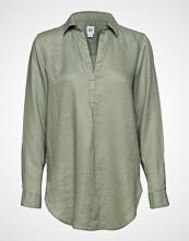 GAP Popover Tunic Linen Sld Langermet Skjorte Grønn GAP