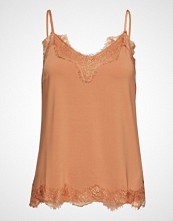 Coster Copenhagen Strap Top W. Lace T-shirts & Tops Sleeveless Beige COSTER COPENHAGEN