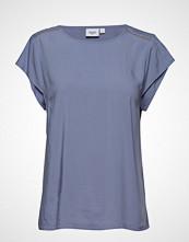 Saint Tropez Top W Sleeve Detail Bluse Kortermet Blå SAINT TROPEZ
