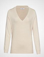 Violeta by Mango V-Neck Sweater Strikket Genser Creme VIOLETA BY MANGO