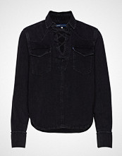 Levi's Made & Crafted Lmc Denim Lace Up Top Lmc Blac Langermet Skjorte Svart LEVI'S MADE & CRAFTED