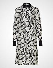 Karl Lagerfeld Orchid Print Silk Shirt Dress Knelang Kjole Svart KARL LAGERFELD