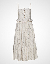 Ganni Printed Cotton Poplin Dress Knelang Kjole Creme GANNI
