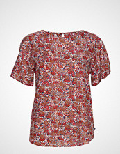 Lexington Clothing Ellis Red Flower Top Bluse Kortermet Rød LEXINGTON CLOTHING