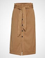 Scotch & Soda High Waisted Skirt In Drapy Quality Knelangt Skjørt Brun SCOTCH & SODA