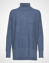 Davida Cashmere Rib Polo Loose Sweater Høyhalset Pologenser Blå DAVIDA CASHMERE
