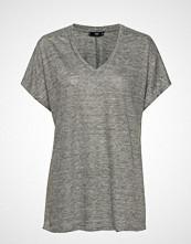 Mango Linen T-Shirt T-shirts & Tops Short-sleeved Grå MANGO