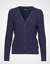 Gant O2. Textured Cardigan Strikkegenser Cardigan Blå GANT