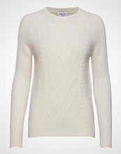 Davida Cashmere Cable Detail Sweater Strikket Genser Creme DAVIDA CASHMERE
