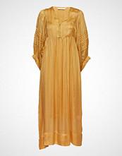 Rabens Saloner Lurex Stripe Ls Long Dress Knelang Kjole Gul RABENS SAL R