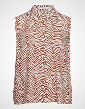 Violeta by Mango Animal Print Shirt T-shirts & Tops Sleeveless Brun VIOLETA BY MANGO