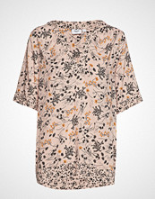Saint Tropez U1022, Blouse Woven S/S T-shirts & Tops Short-sleeved Beige SAINT TROPEZ