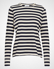 Ganni Striped Cotton Jersey T-shirts & Tops Long-sleeved Creme GANNI