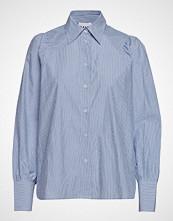 Ganni Striped Cotton Poplin Langermet Skjorte Blå GANNI