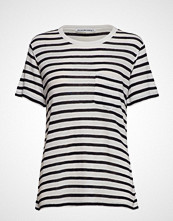 T by Alexander Wang Classic Striped Slub Jersey S/S Tee W/ Pocket T-shirts & Tops Short-sleeved Hvit T BY ALEXANDER WANG