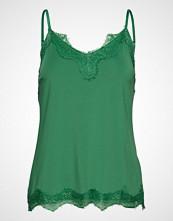 Coster Copenhagen Strap Top W. Lace T-shirts & Tops Sleeveless Grønn COSTER COPENHAGEN