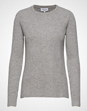 Davida Cashmere Chunky O-Neck Rib Sweater Strikket Genser Grå DAVIDA CASHMERE