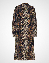Ganni Print Denim Dress Knelang Kjole Brun GANNI