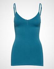 Saint Tropez T1600, Microfiber Top W V-Neck T-shirts & Tops Sleeveless Blå SAINT TROPEZ