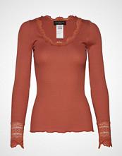 Rosemunde Silk T-Shirt Regular Ls W/Wide Lace T-shirts & Tops Long-sleeved Brun ROSEMUNDE