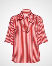 Saint Tropez Striped Woven Top W Bow Tie Bluse Kortermet Rød SAINT TROPEZ
