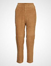 Lexington Clothing Olivia Suede Pants Bukser Med Rette Ben Beige LEXINGTON CLOTHING