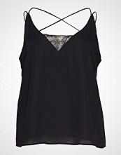 Violeta by Mango Lace Detail Top T-shirts & Tops Sleeveless Svart VIOLETA BY MANGO