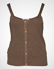 Violeta by Mango Metallic Thread Top T-shirts & Tops Sleeveless Brun VIOLETA BY MANGO