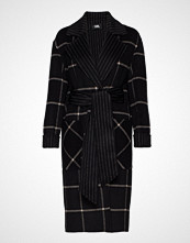 Karl Lagerfeld Double Face Wrap Coat Ullfrakk Frakk Svart Karl Lagerfeld