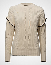 Scotch & Soda Pull With Ruffle & Cable Detailling Strikket Genser Creme SCOTCH & SODA