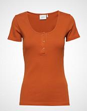 Gestuz Rollagz Button Tee T-shirts & Tops Short-sleeved Oransje GESTUZ