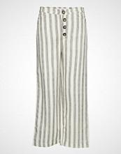 Mango Striped Linen-Blend Trousers Vide Bukser Hvit MANGO