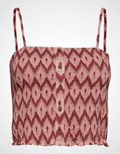 Mango H Ycomb Pattern Top Bluse Ermeløs Rosa MANGO