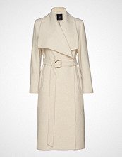 Mango Wide Lapel Wool-Blend Coat Ullfrakk Frakk Creme Mango