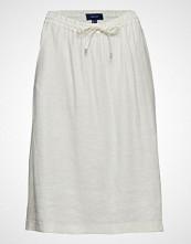 Gant O2. Summer Linen A-Line Skirt Knelangt Skjørt Hvit GANT