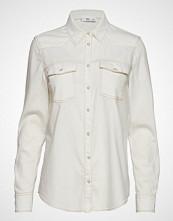 Mango Chest-Pocket Denim Shirt Langermet Skjorte Creme MANGO