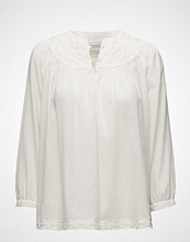 Scotch & Soda Woven Top With Subtle Embroidery T-shirts & Tops Long-sleeved Hvit SCOTCH & SODA