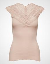 Rosemunde Silk Top Regular W/ Wide Lace T-shirts & Tops Short-sleeved Rosa ROSEMUNDE