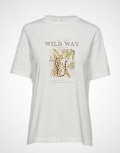 Mango Cotton Printed T-Shirt T-shirts & Tops Short-sleeved Hvit MANGO