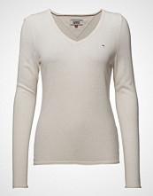 Tommy Jeans Tjw Lightweight V-Neck Sweater Strikket Genser Creme TOMMY JEANS