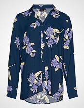 Zizzi Vvega L/S, Shirt Bluse Langermet Blå ZIZZI