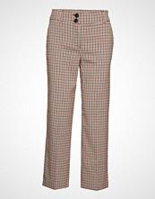 Only Onlbea Mid Ank Straight Check Pant Pnt Bukser Med Rette Ben Brun ONLY