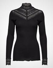 Rosemunde Silk T-Shirt Regular Ls W/Wide Lace T-shirts & Tops Long-sleeved Svart ROSEMUNDE