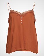 Violeta by Mango Lace Detail Top T-shirts & Tops Sleeveless Brun VIOLETA BY MANGO