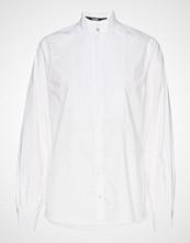 Karl Lagerfeld Pleated Plastron Poplin Shirt Langermet Skjorte Hvit KARL LAGERFELD