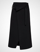 3.1 Phillip Lim Side Wrap Midi Structured Twill Skirt Knelangt Skjørt Svart 3.1 PHILLIP LIM