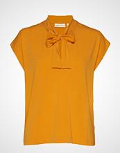 InWear Yamini Tie_neck Top Bluse Kortermet Gul INWEAR