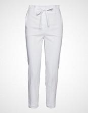 Mango Straight Linen-Blend Trousers Bukser Med Rette Ben Hvit MANGO