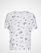 Mango Printed Cotton-Blend T-Shirt T-shirts & Tops Short-sleeved Hvit MANGO